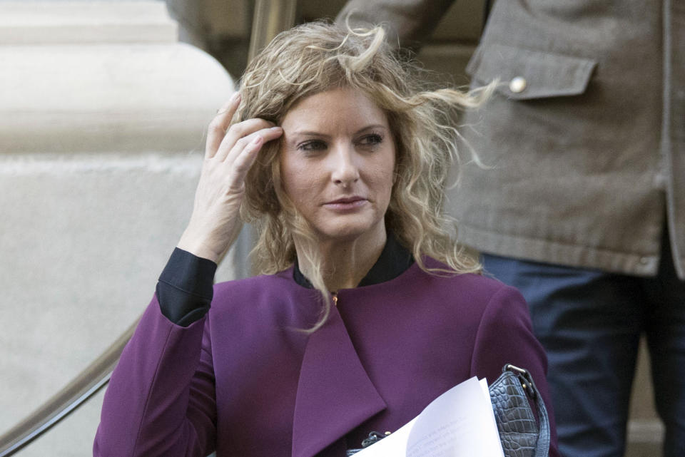 """FILE — In this Oct. 18, 2018, file photo, Summer Zervos leaves New York state appellate court in New York. Former President Donald Trump now has a Dec. 23 deadline to undergo questioning in a former """"Apprentice"""" contestant's defamation lawsuit over what he said in denying her sexual assault allegations, a court said Monday, Oct. 4, 2021. (AP Photo/Mary Altaffer)"""