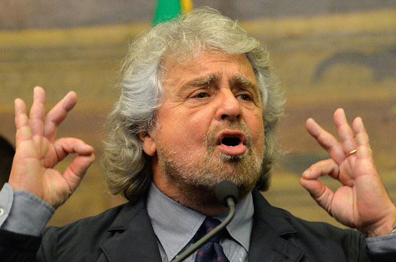 Italy's anti-establishment Five Star party, founded in 2009 by former comedian Beppe Grillo, pictured last year, is itching to govern and has a man primed for the top job (AFP Photo/Andreas Solaro)