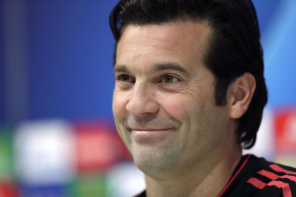 Real Madrid's coach Santiago Solari attends a press conference at the team's Valdebebas training ground in Madrid, Spain, Monday, March 4, 2019. Real Madrid will play against Ajax in a Champions League soccer match on Tuesday. (AP Photo/Manu Fernandez)