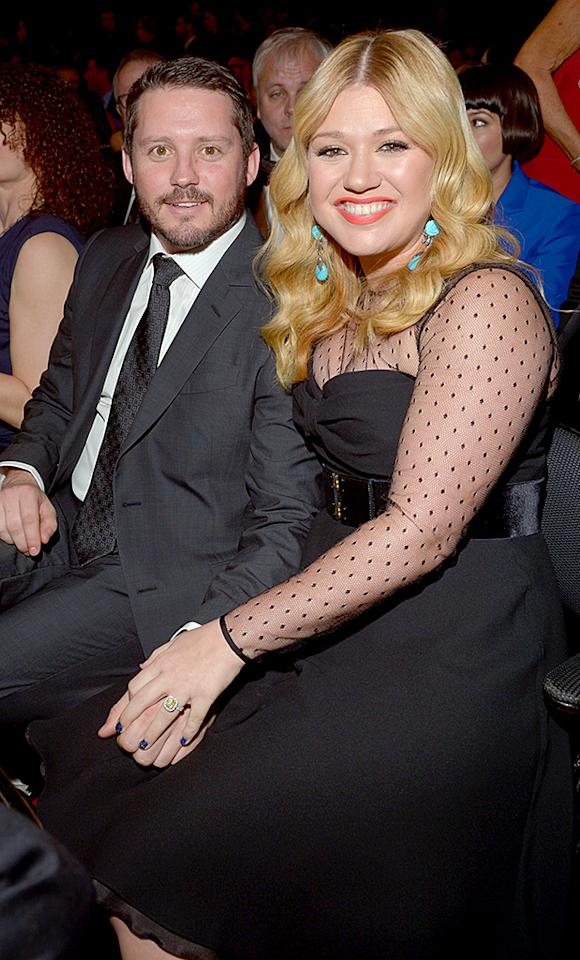 LOS ANGELES, CA - FEBRUARY 10: Singer Kelly Clarkson (R) and Brandon Blackstock attend the 55th Annual GRAMMY Awards at STAPLES Center on February 10, 2013 in Los Angeles, California.  (Photo by Lester Cohen/WireImage)