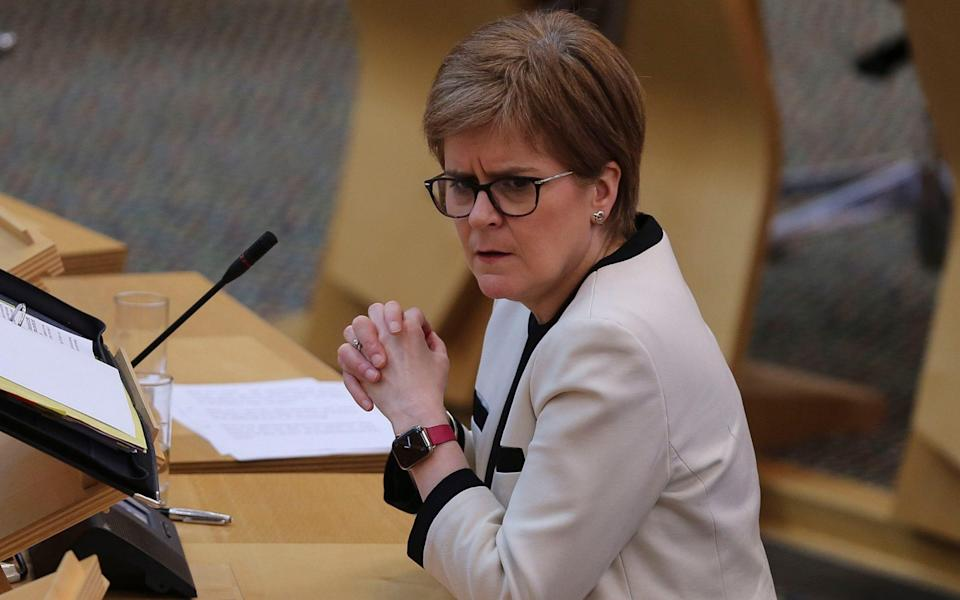 First Minister Nicola Sturgeon during First Minister's Questions at the Scottish Parliament in Holyrood - Fraser Bremner/Scottish Daily Mail/PA