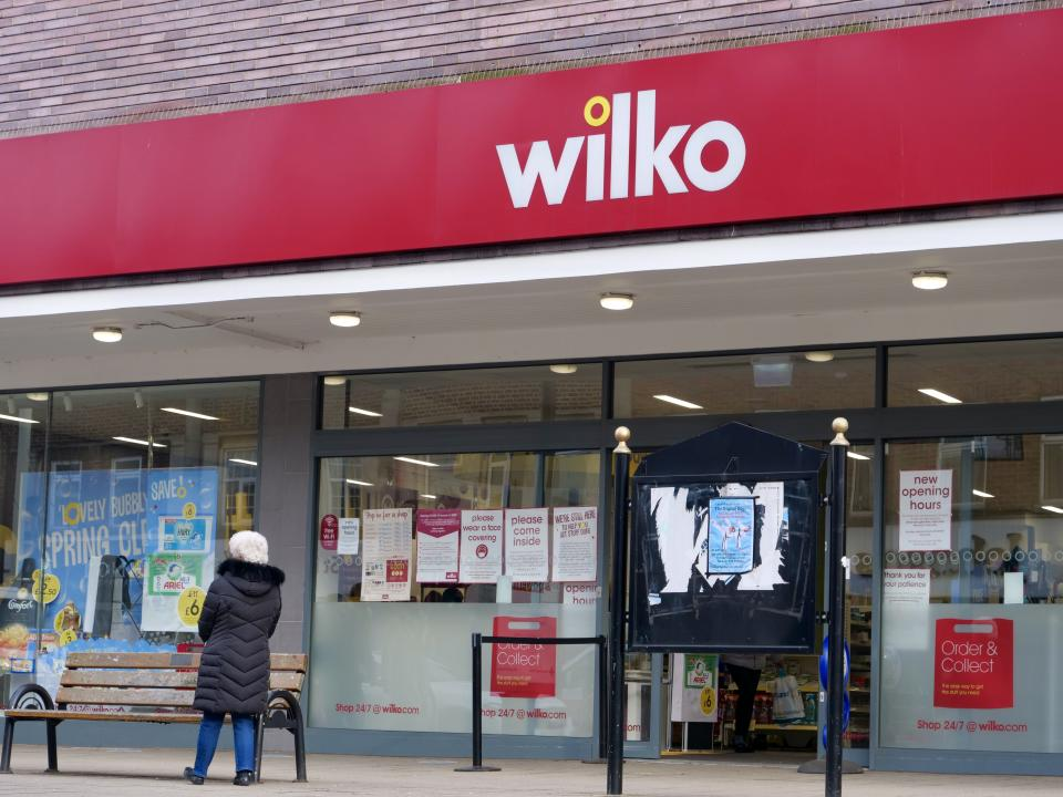 London,UK- January 28,2021: The retail store of Wilko. Wilko is a British high-street retail chain which sells homewares and household goods.