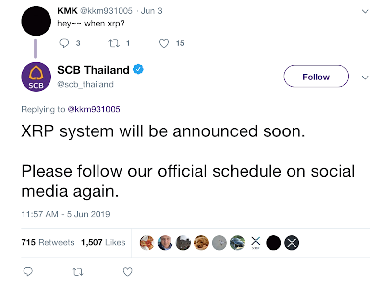 SCB's initial tweet from June 5, indicating apparent plans to begin using XRP