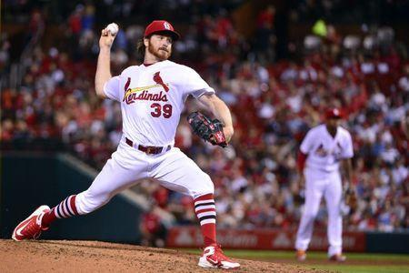 May 21, 2018; St. Louis, MO, USA; St. Louis Cardinals starting pitcher Miles Mikolas (39) pitches during the sixth inning against the Kansas City Royals at Busch Stadium. Mandatory Credit: Jeff Curry-USA TODAY Sports