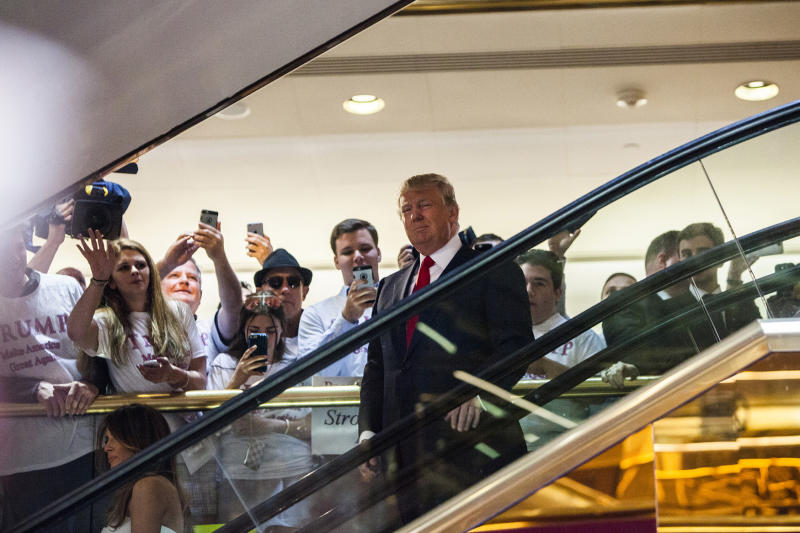 Business mogul Donald Trump arrives at a press event where he announced his candidacy for the U.S. presidency at Trump Tower on June 16, 2015 in New York City. Trump is the 12th Republican who has announced running for the White House. (Photo: Christopher Gregory/Getty Images)
