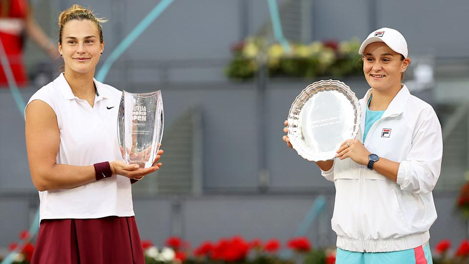 Seen here, Aryna Sabalenka and Ash Barty at the 2021 Madrid Open.