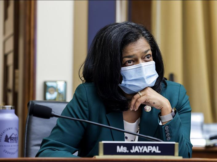 <p>Pramila Jayapal (D-WA) looks on during the House Judiciary Subcommittee on Antitrust, Commercial and Administrative Law hearing on Online Platforms and Market Power in the Rayburn House office Building, on 29 July 2020 on Capitol Hill in Washington, DC</p> ((Getty Images))