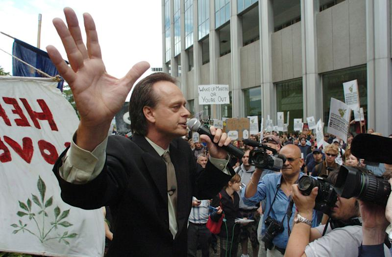 Marc Emery addresses a crowd at an anti-extradition rally held for him in front of the US Consulate in Vancouver, Canada, on September 10, 2005