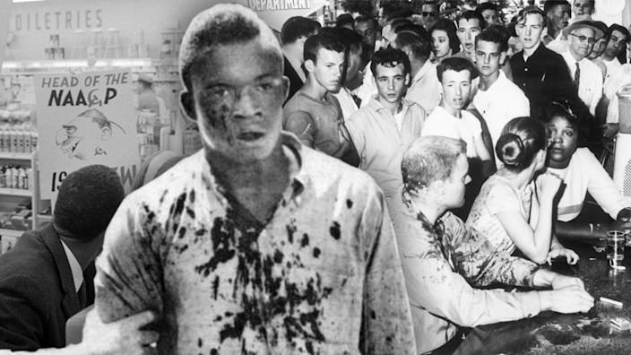 """Protesters remain at a sit-in at a lunch counter, and a bloodied man walks away from a KKK attack on """"Ax Handle Saturday"""" on Aug. 27, 1960. (Photo illustration: Yahoo News; photos: Getty Images (3))"""