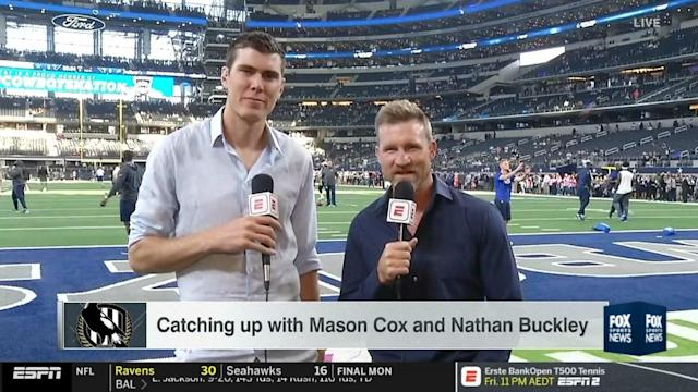 AFL 2020: Mason Cox and Nathan Buckley on ESPN video, Collingwood duo at NFL Dallas Cowboys
