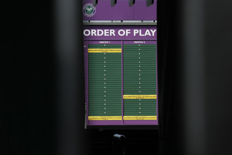 An order of play sign in the grounds of Wimbledon as it is announced that the Wimbledon tennis Championships 2020 has been cancelled due to public health concerns linked to the coronavirus, in London, Wednesday, April 1, 2020. The new coronavirus causes mild or moderate symptoms for most people, but for some, especially older adults and people with existing health problems, it can cause more severe illness or death.(AP Photo/Kirsty Wigglesworth)