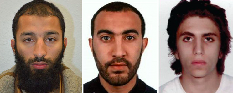 Attackers Khuram Butt, Rachid Redouane and Youssef Zaghba (Picture: Met Police)