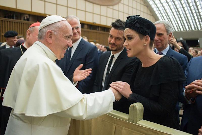 Katy Perry and Orlando Bloom with Pope Francis