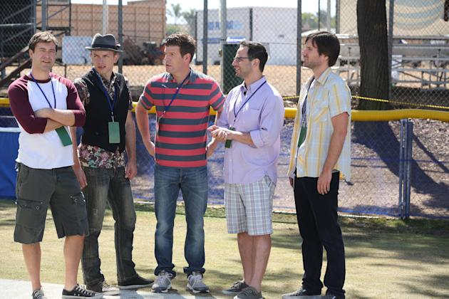 Mark Duplass as Pete, Paul Scheer as Andre, Stephen Rannazzisi as Kevin, Nick Kroll as Ruxin, and Jonathan Lajoie as Taco in 'The League'