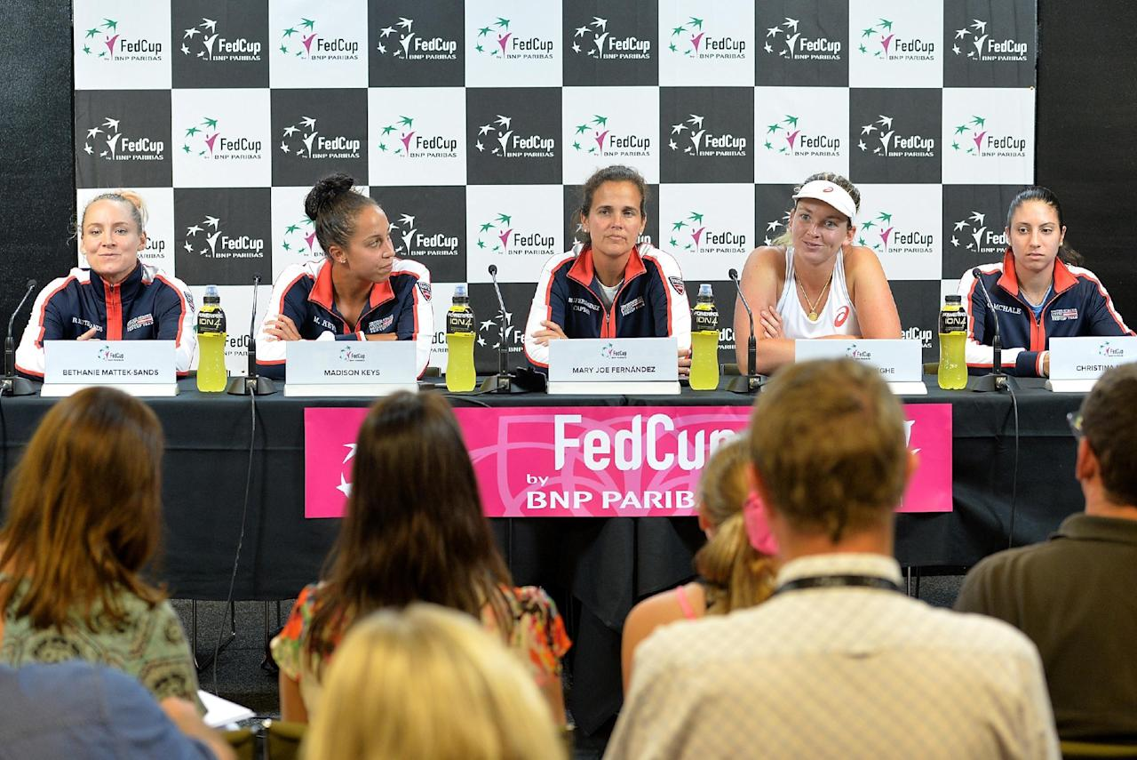 BRISBANE, AUSTRALIA - APRIL 17: The USA Fed Cup team attend a press conference after the Fed Cup tie between Australia and the United States at Pat Rafter Arena on April 17, 2016 in Brisbane, Australia.  (Photo by Bradley Kanaris/Getty Images)