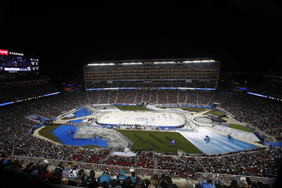 Feb 21, 2015; Santa Clara, CA, USA; A general view in the third period during the Stadium Series hockey game between the San Jose Sharks and the Los Angeles Kings at Levis Stadium. (Kelley L Cox-USA TODAY Sports)