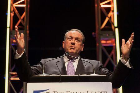 Former Arkansas Governor Mike Huckabee speaks at the Family Leadership Summit in Ames, Iowa, in this August 9, 2014 file photo. REUTERS/Brian Frank/Files