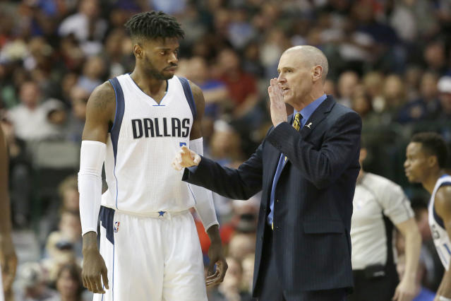 "Rick Carlisle isn't sure why <a class=""link rapid-noclick-resp"" href=""/nba/players/5157/"" data-ylk=""slk:Nerlens Noel"">Nerlens Noel</a> wants directions to the media dining room, but sure, he'll get him there. (AP)"