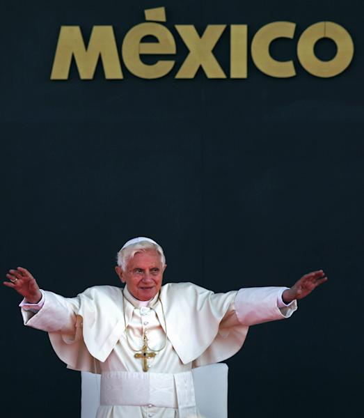 FILE - In this March 26, 2012 file photo, Pope Benedict XVI waves to the crowd during his departure ceremony at the airport in Silao, Mexico. On Monday, Feb. 11, 2013 the Vatican announced that Pope Benedict XVI will resign on Feb. 28, 2013. (AP Photo/Alexandre Meneghini, file)