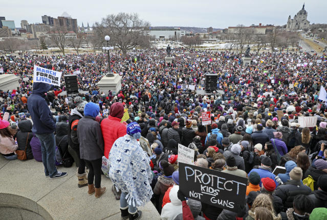<p>Thousands of Minnesota students and other supporters of gun control marched down the streets of St. Paul and gathered for a rally at the State Capitol Saturday. It was part of an unprecedented worldwide student-led movement dubbed March for Our Lives. (Brian Peterson/Star Tribbune/AP) </p>