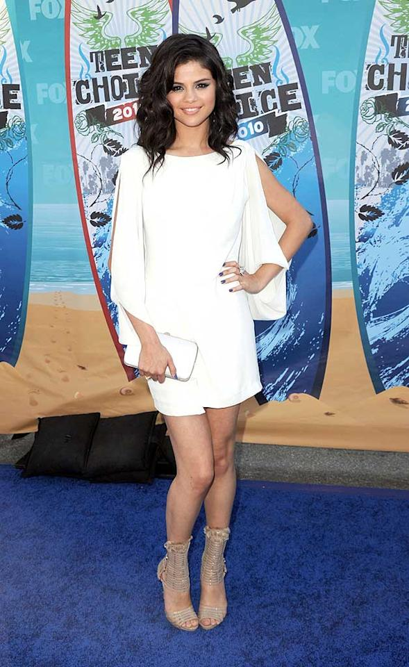 """<b>Selena Gomez (Grade: A)</b>  The Disney darling was undoubtedly one of the best-dressed stars at the 2010 Teen Choice Awards in LA Sunday, thanks to her fierce BCBG Max Azria frock and magnificent, metallic heels. Jason Merritt/<a href=""""http://www.gettyimages.com/"""" target=""""new"""">GettyImages.com</a> - August 8, 2010"""
