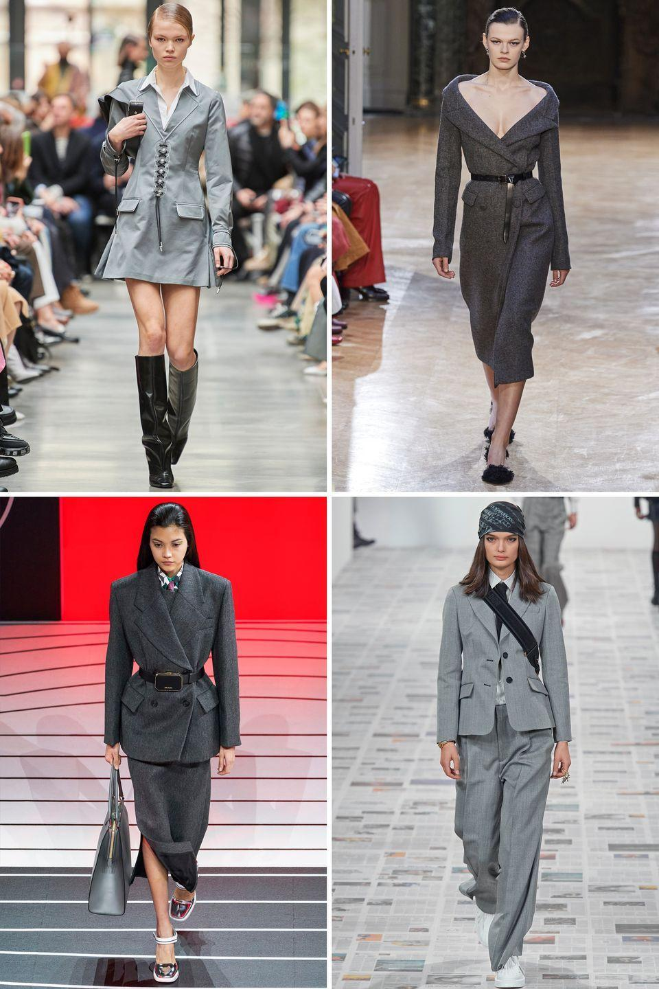 <p>Sleek and chic and not surprising at all, slate gray popped up on countless fall 2020 runways, from New York to Milan to Paris. Whether you go for a blazer, sweater, or structured dress form, this is one way to stand out and dress for a day in the city.</p><p><em>Clockwise from top left: Coperni, Altuzarra, Christian Dior, Prada</em></p>