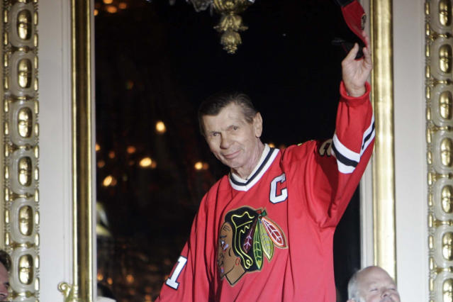 FILE - In this July 15, 2011, file photo, Chicago Blackhawks great Stan Mikita is introduced on opening night of the fourth annual Blackhawks Convention in Chicago. A posthumous study of Mikita's brain shows the hockey Hall of Famer suffered from chronic traumatic encephalopathy at the time of his death a year ago. Dr. Ann McKee, the director of the BU CTE Center, announced the findings during the Concussion Legacy Foundation's Chicago Honors Dinner on Friday night, Sept. 13, 2019, at the request of Mikita's family. (Brian Hill/Daily Herald via AP, File)