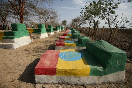 A picture shows a grave yard of Ethiopian martyrs killed during Ethiopia-Eritrea war fought between 1998 to 2000 in Badme, territorial dispute town between Eritrea and Ethiopia currently occupied by Ethiopia, June 8, 2018. Picture taken June 8, 2018. REUTERS/Tiksa Negeri