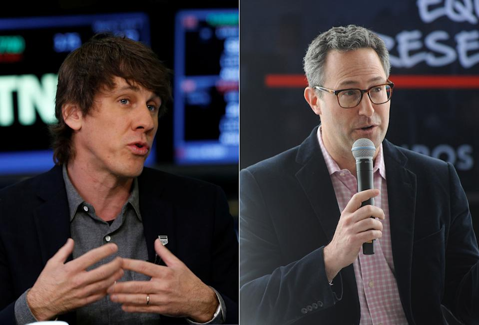 L: Foursquare co-founder and Executive Chairman Dennis Crowley on the floor of the New York Stock Exchange (NYSE) waiting for Snap Inc to go public on March 2, 2017. (REUTERS/Lucas Jackson) R: Foursquare CEO Jeff Glueck onstage at the Kairos Society Global Summit on April 21, 2017 in New York City. (Brad Barket/Getty Images for Kairos Society)