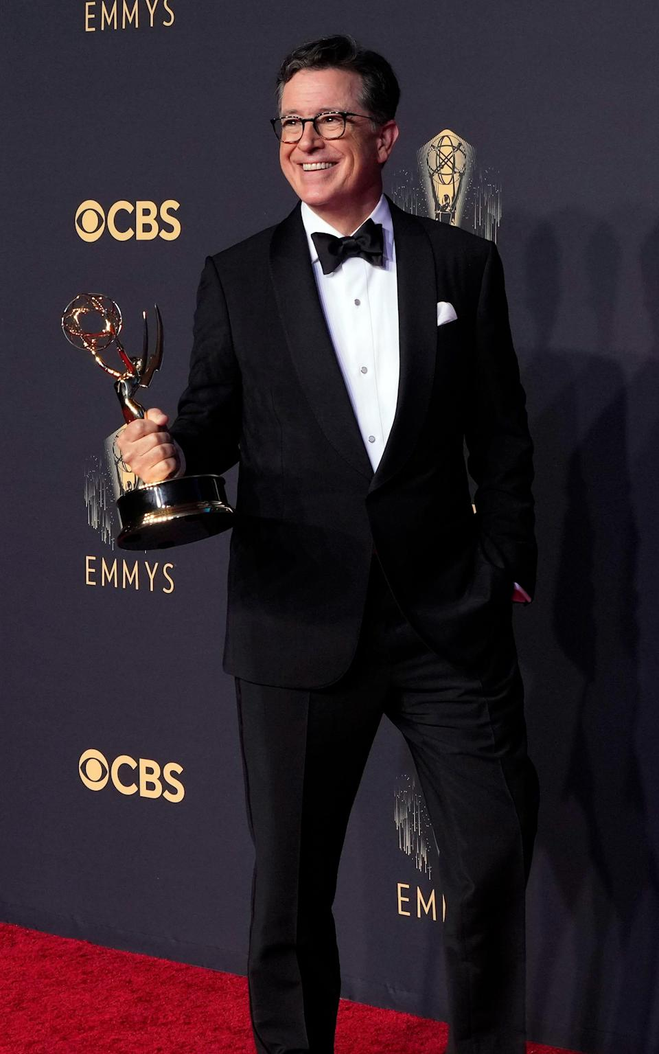 Stephen Colbert, winner of Outstanding Variety Special (Live) for 'Stephen Colbert's Election Night 2020', in the press room at the 73rd Emmy Awards at L.A. Live..