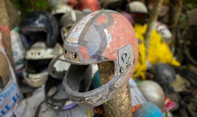 Thailand's killer roads: The man who collects helmets of dead motorbike crash victims as a safety reminder