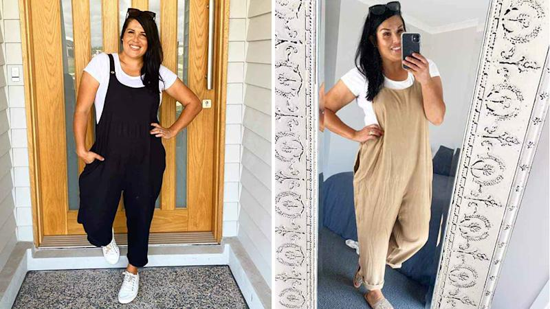 kmart linen overalls in black and tan