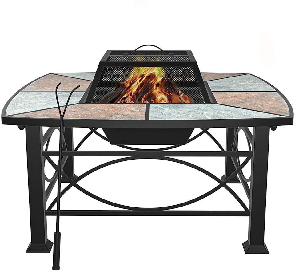 <p>This <span>Mecor Outdoor Square Fire Pit</span> ($160) has beautiful tile and stone accents that will give your garden a glow.</p>