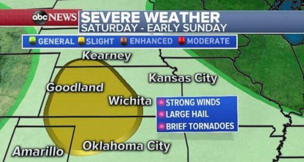 PHOTO: Severe weather is possible in Kansas and Oklahoma on Saturday and early Sunday. (ABC News)