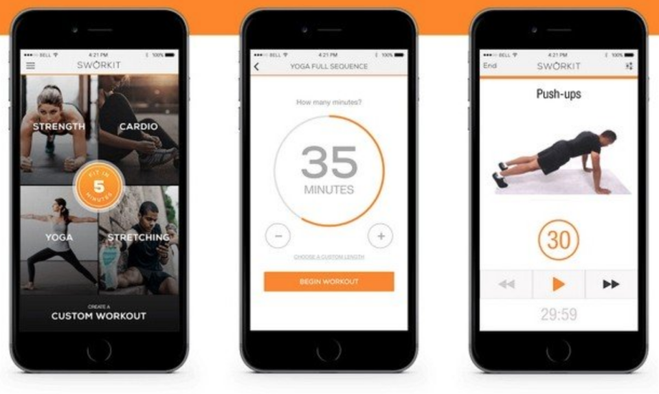 """<p>It's a one-stop shop for all the no-gym workouts out need to help you power the fitness side of your weight loss journey. There are bodyweight workouts, cardio workouts, yoga, and even stretching. There's a timer, a tracker, and even the option to connect one-on-one to a personal trainer.</p><p><em>(free for iOS and Android, <a href=""""https://itunes.apple.com/us/app/calorie-counter-diet-tracker-by-myfitnesspal/id341232718?mt=8"""" rel=""""nofollow noopener"""" target=""""_blank"""" data-ylk=""""slk:itunes.com"""" class=""""link rapid-noclick-resp"""">itunes.com</a> and <a href=""""https://play.google.com/store/apps/details?id=com.myfitnesspal.android&hl=en"""" rel=""""nofollow noopener"""" target=""""_blank"""" data-ylk=""""slk:play.google.com"""" class=""""link rapid-noclick-resp"""">play.google.com</a>)</em></p>"""