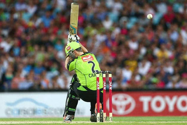 Ryan Carters of the Thunder bats during the Big Bash League match between Sydney Thunder and the Sydney Sixers at ANZ Stadium on December 30, 2012 in Sydney, Australia.  (Photo by Mark Kolbe/Getty Images)