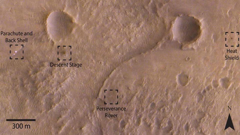 TGO spotted the Perseverance rover, its parachute and back shell, heat shield and descent stage, in the Jezero Crater region of Mars. Image credit: ESA/Roscosmos/CaSSIS/A Valantinas