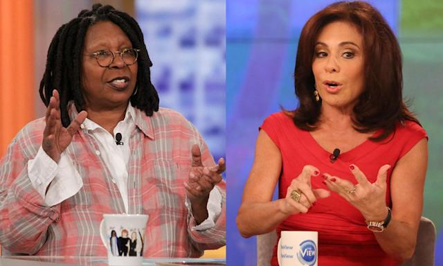 "Whoopi Goldberg, left, and Jeanine Pirro clashed on set and behind the scenes of <em>The View;</em> now Pirro is calling her comments ""abuse."" (Photo: Getty Images)"