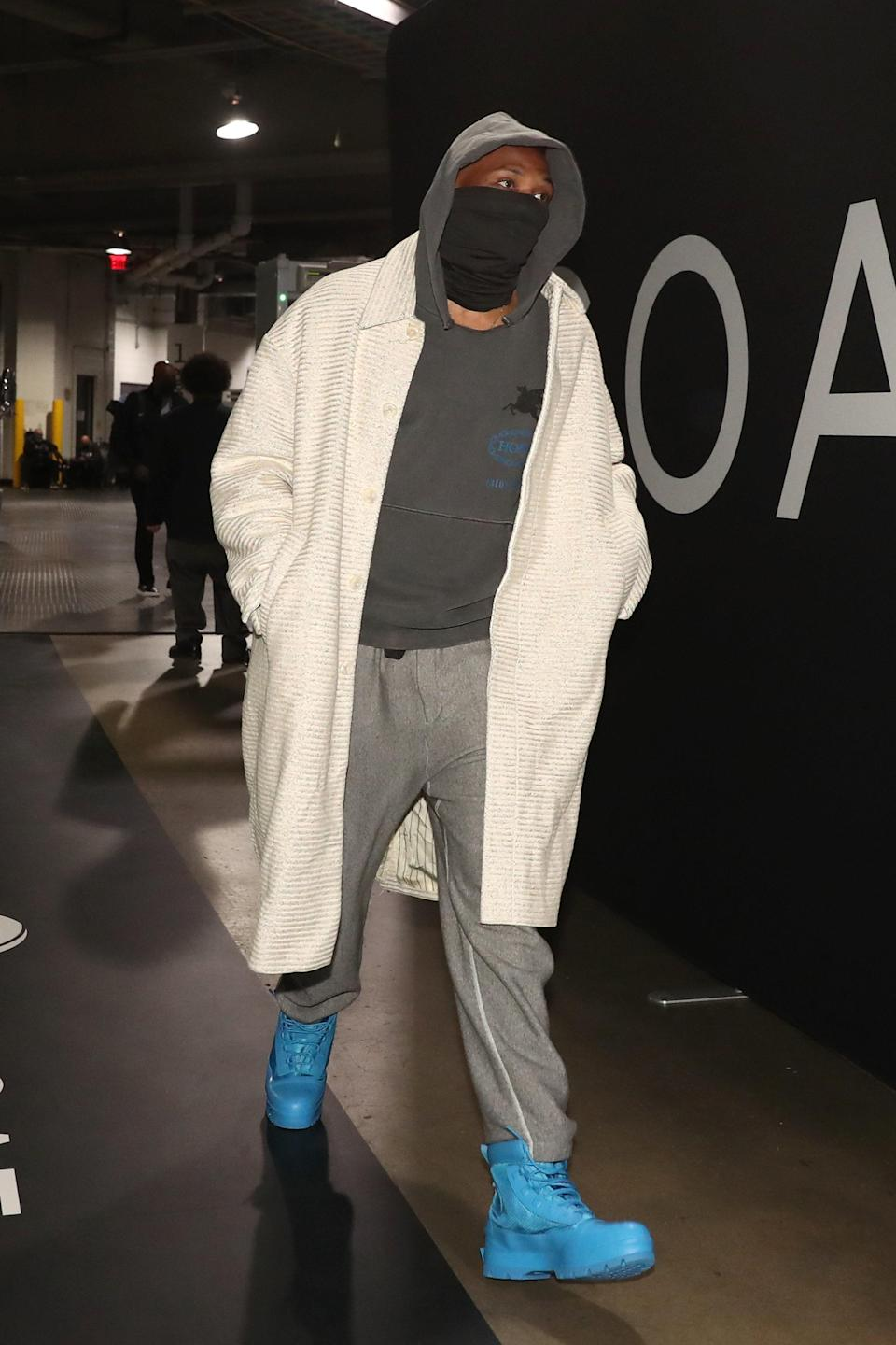 Russell Westbrook of the Washington Wizards arrives to a game against the Brooklyn Nets in Brooklyn, January 3, 2021.