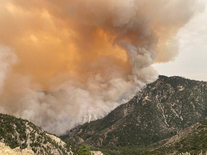 The Bobcat Fire continues to burn in the Angeles National Forest on Tuesday, Sep. 15.
