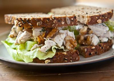 """<div class=""""caption-credit""""> Photo by: Photo by Sarah Flotard</div><div class=""""caption-title""""></div><b>1980s-Style Chicken Salad</b> <br> <br> Whisk equal parts mayonnaise and crÿme fraîche in a bowl; add Dijon mustard and fresh lemon juice to taste and season with kosher salt. Drizzle dressing over chunks of chicken, halved green grapes, toasted walnuts, and chopped fresh tarragon; toss to coat. This salad will taste even better the next day."""