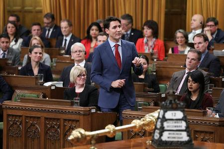 Canada's Prime Minister Justin Trudeau speaks about the closing of Centre Block in the House of Commons on Parliament Hill in Ottawa, Ontario, Canada, December 12, 2018. REUTERS/Chris Wattie
