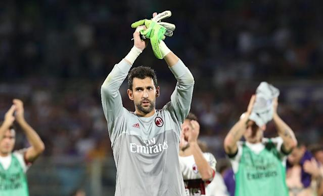 Milan's goalkeeper Diego Lopez, pictured on August 23, 2015, had been under fire for a series of under-par displays for the struggling Serie A giants (AFP Photo/Massimo Benvenuti)