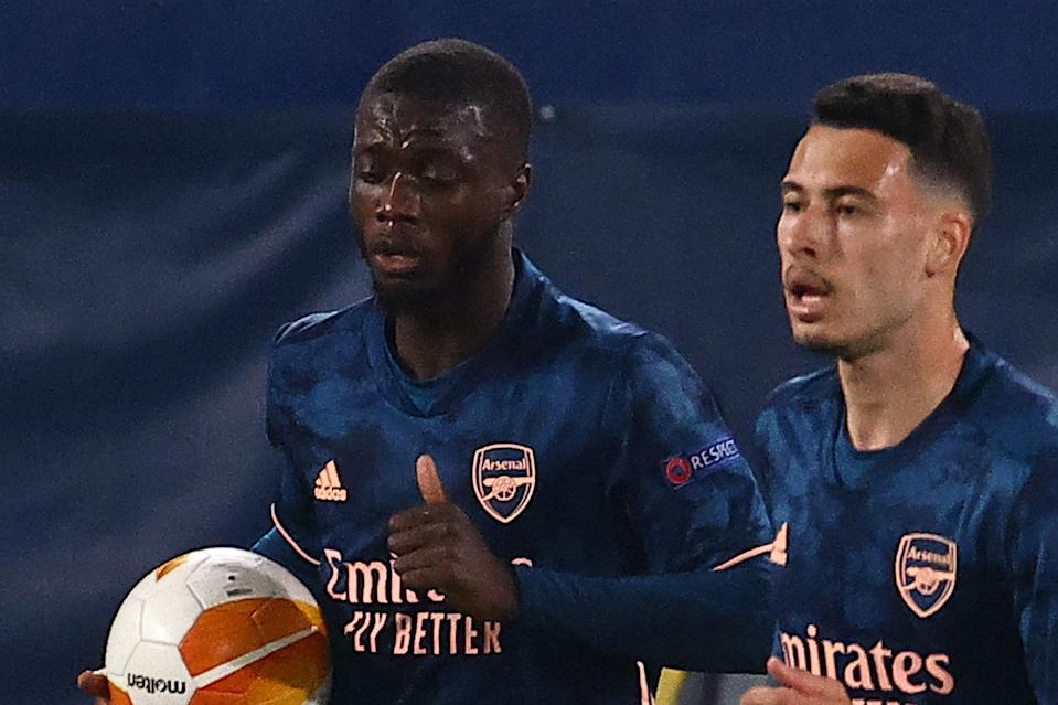 <p>Nicolas Pepe notched a potentially crucial away goal for Arsenal in Villarreal</p> (AFP via Getty Images)