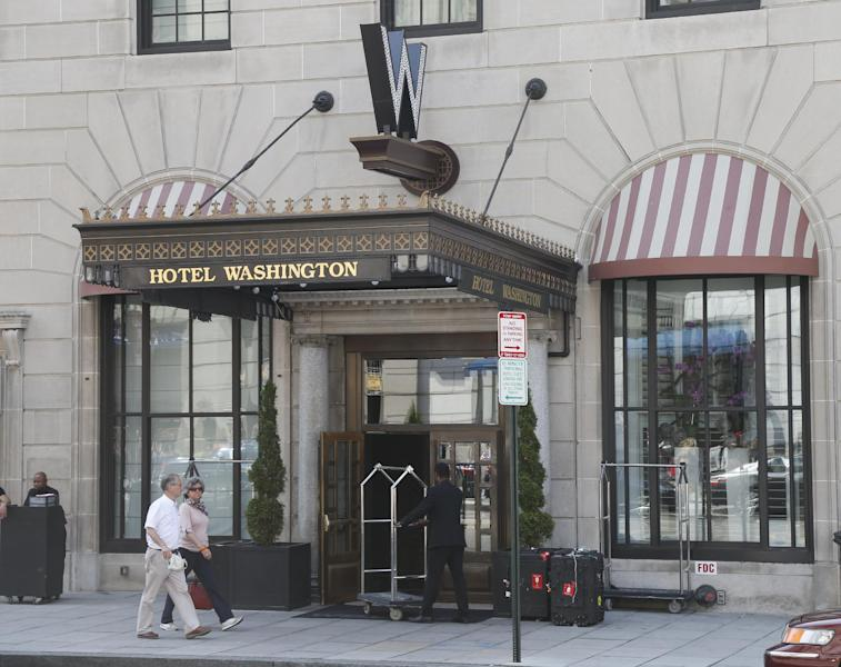 "The W Washington D.C. hotel, formerly known as Hotel Washington, is seen in Washington, Friday, May 10, 2013. South Korean President Park Geun-hye fired her chief spokesman because of what her office said Friday was a ""disgraceful incident"" during Park's trip to the United States, in what could be a domestic blow after an otherwise widely praised appearance in Washington. A police report obtained by The Associated Press states that a woman told police that a man grabbed her on Tuesday night at the W Washington D.C. hotel. (AP Photo/Charles Dharapak)"