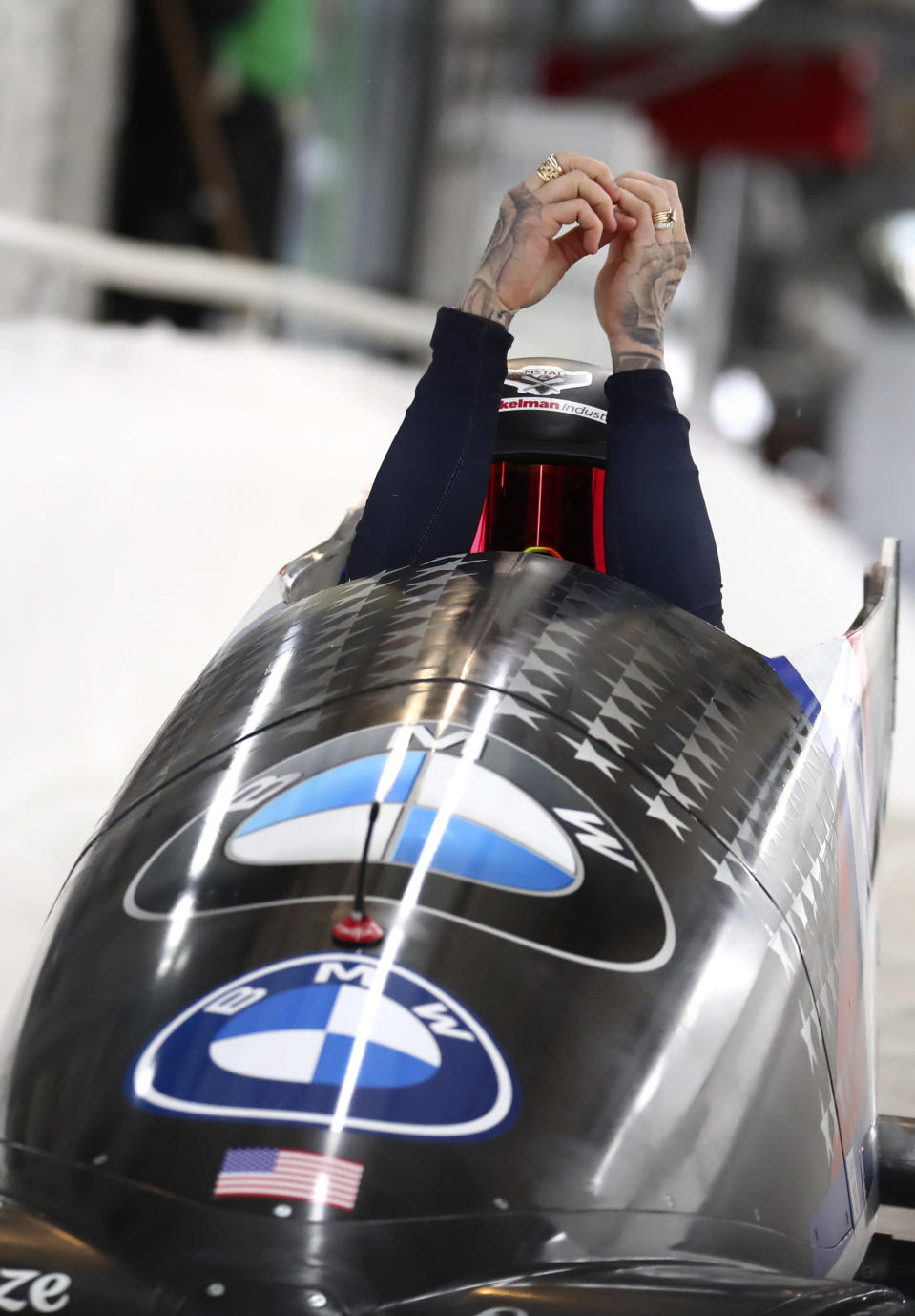 United State's bobsleigh pilot Kaillie Humphries at the start of the women's monobob race at the Bobsleigh and Skeleton World Championships in Altenberg, Germany, Saturday, Feb.13, 2021. (AP Photo/Matthias Schrader)