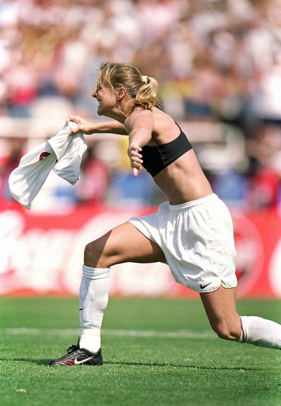 <p>After she scored the winning penalty kick in the Women's 1999 FIFA World Cup final, Brandi ripped off her shirt, exposing her sports bra. It was spontaneous and oh so cool so, naturally, you were dying to do it at your pee-wee soccer matches, too.</p>