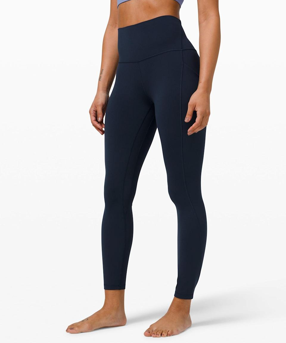 "<p>These navy <span>Lululemon Align High Rise Pant with Pockets 25""</span> ($128) go with everything.</p>"