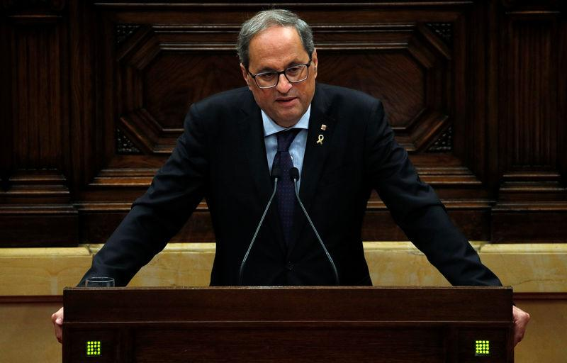 Catalan leader Quim Torra appears in the regional parliament after Spain's Supreme Court jailed nine separatist leaders, triggering violent protests in the region, in Barcelona