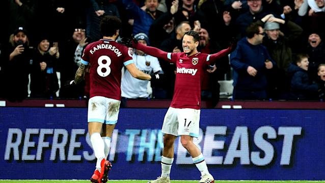 <p>Hernandez scored his third goal in the space of a week against the Eagles.</p>
